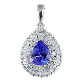 9K W Gold Tanzanite (Pear 1.00 Ct), Diamond Pendant 1.500 Ct.