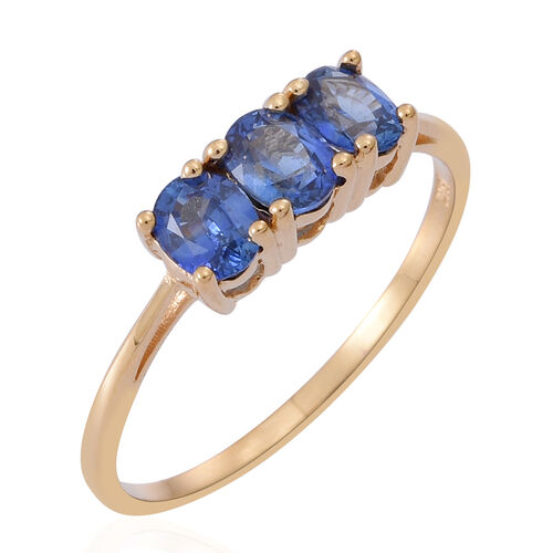 ILIANA 18K Y Gold Rare Natural AAAA Ceylon Sapphire (Ovl) Trilogy Ring 1.250 Ct.