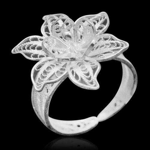 Royal Bali Collection Sterling Silver Floral Ring, Silver wt 3.21 Gms.