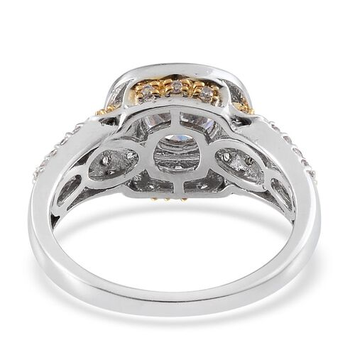 ELANZA AAA Simulated Diamond (Rnd) Ring in Platinum and Yellow Gold Overlay Sterling Silver