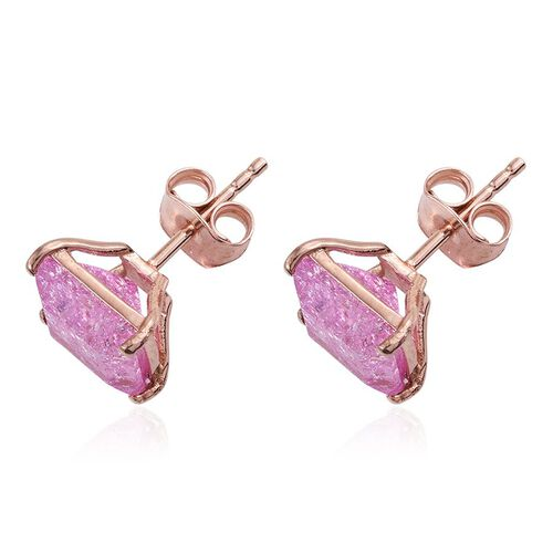 Hot Pink Crackled Quartz (Sqr) Stud Earrings (with Push Back) in Rose Gold Overlay Sterling Silver 4.750 Ct.