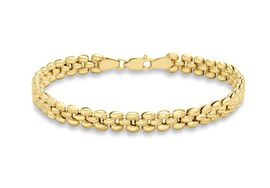 Close Out Deal 9K Y Gold Fine Brick Stampata Bracelet (Size 7.5), Gold Wt 5.80 Gms.