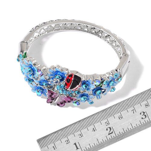 AAA Blue and Pink Austrian Crystal Multi Colour Enameled Ladybird, Butterfly and Flowers Bangle (Size 8) in Silver Tone