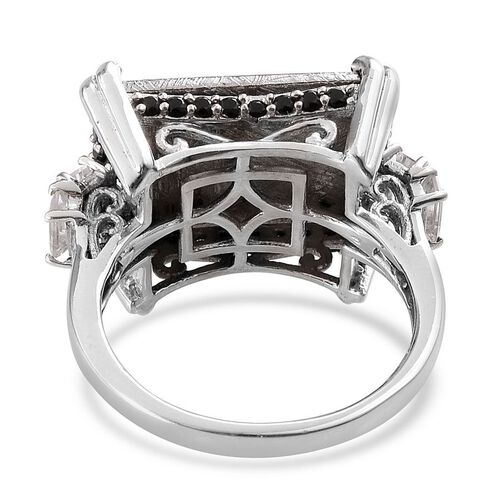 Meteorite (Bgt 19.50 Ct), Boi Ploi Black Spinel and White Topaz Ring in Platinum Overlay Sterling Silver 21.000 Ct.