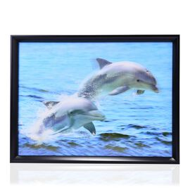 Dolphin Swim Framed 3D Wall Painting (Size 41x31 Cm)