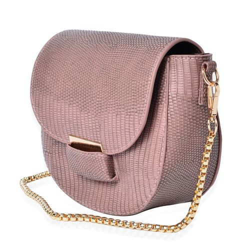 Half Moon Shape Blush Pink Colour Crossbody Bag (Size 19x15x7 Cm)