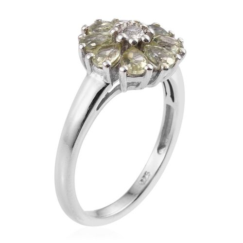 Natural Canary Apatite (Pear), White Topaz Floral Ring in Platinum Overlay Sterling Silver 1.250 Ct.