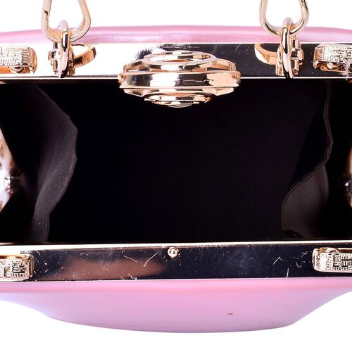 Light Pink Colour Clutch Bag With Removable Shoulder Strap (Size 17x13x10 Cm)