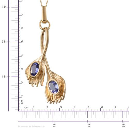 Tanzanite (Ovl) Peacock Feather Pendant With Chain in 14K Gold Overlay Sterling Silver 1.000 Ct.