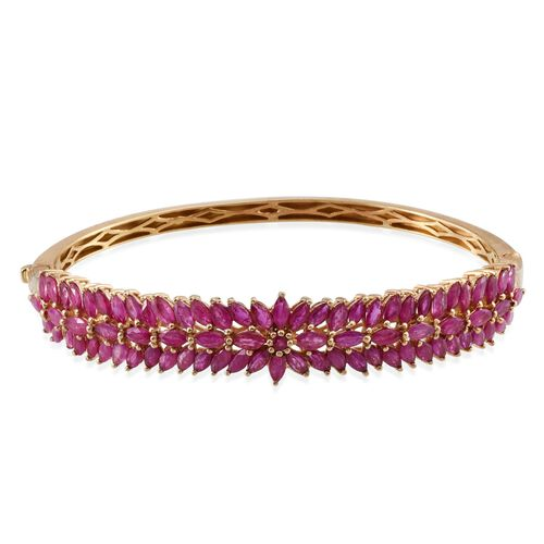 AAA Burmese Ruby (Rnd) and Hidden Diamond Bangle (Size 7.5) in 14K Gold Overlay Sterling Silver 12.270 Ct.