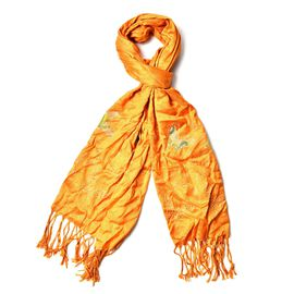 AAA White Austrian Crystal Studded Glittering Butterfly Pattern Orange Colour Scarf with Tassels (Size 165x58 Cm)