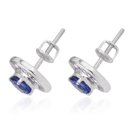 ILIANA 18K W Gold AAA Tanzanite (Rnd), Diamond Stud Earrings (with Screw Back) 1.750 Ct.