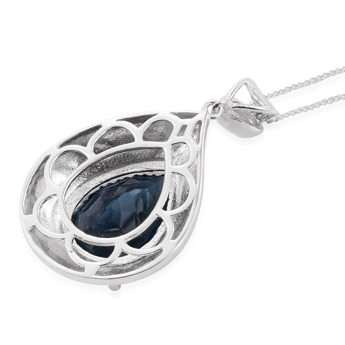 Indicolite Quartz (Pear) Solitaire Pendant With Chain in Platinum Overlay Sterling Silver 9.500 Ct.
