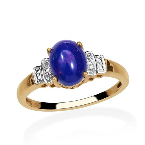 Blue Ethiopian Opal (Ovl 1.00 Ct), Diamond Ring in 14K Gold Overlay Sterling Silver 1.020 Ct.