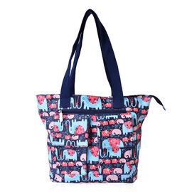Multi Colour Elephant and Floral Pattern Tote Bag with External Zipper Pocket (Size 44x31x30.5x11 Cm)