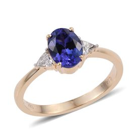 ILIANA 18K Y Gold AAA Tanzanite (Ovl 1.30 Ct), Diamond Ring 1.500 Ct.