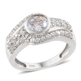J Francis - Platinum Overlay Sterling Silver (Rnd) Ring Made with SWAROVSKI ZIRCONIA 1.410 Ct.