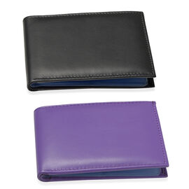 Set of 2 - Genuine Leather Purple and Black Colour RFID Bi-Fold Wallet Cum Card Holder with 24 Card Slots (Can hold Up to 96 Cards) (Size 14x10 Cm)
