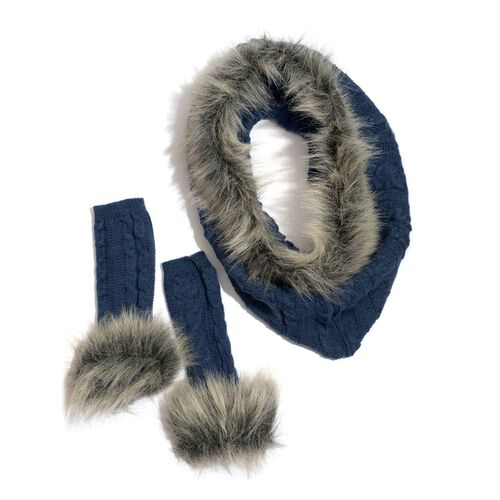Blue Colour Knitted Snood (Free Size) and Hand Gloves with Fur
