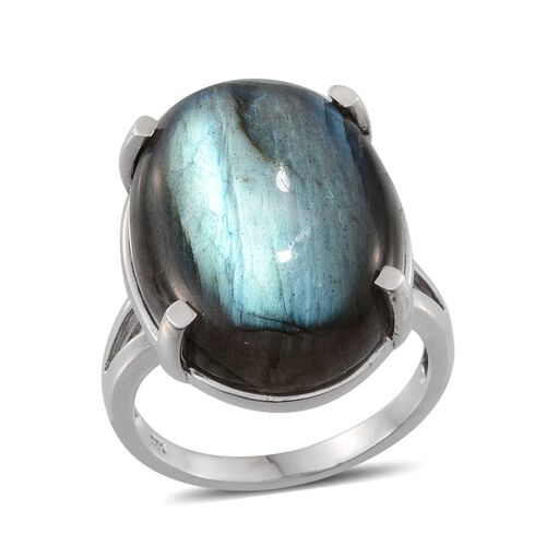 Labradorite (Ovl) Ring in Platinum Overlay Sterling Silver 28.000 Ct.