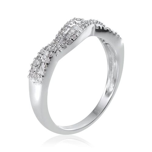 Diamond (Rnd) Criss Cross Ring in Platinum Overlay Sterling Silver 0.330 Ct.