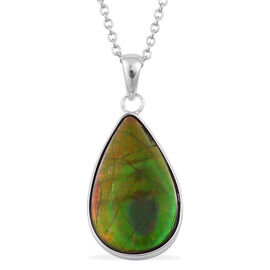 Canadian Ammolite Pendant With Chain in Rhodium Plated Sterling Silver 9.450 Ct.