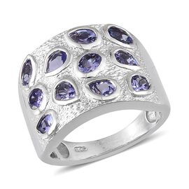 Tanzanite (Pear) Ring in Platinum Overlay Sterling Silver 2.000 Ct.