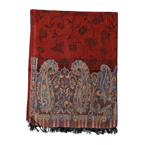 100% Superfine Modal Red Colour Kani Palla Shawl with Paisley Motifs on Border (Size 180x70 Cm)