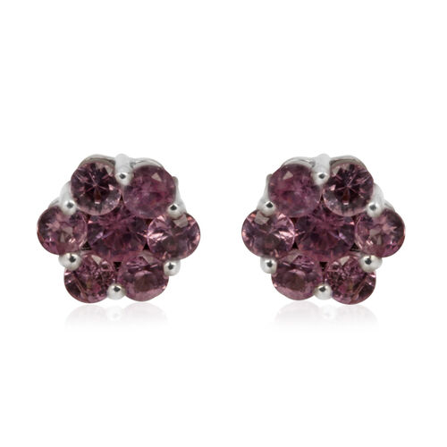 9K W Gold Pink Sapphire (Rnd) Floral Stud Earrings 1.250 Ct.