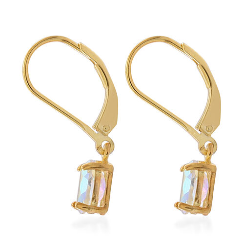 Mercury Mist Topaz (Ovl) Lever Back Earrings in Yellow Gold Overlay Sterling Silver 2.000 Ct.
