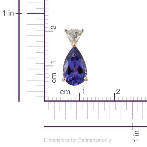 ILIANA 18K Y Gold AAA Tanzanite (Pear 1.04 Ct), Diamond (SI/G-H) Pendant 1.190 Ct.