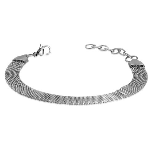 Designer Inspired Mesh Necklace (Size 20) and Bracelet (Size 7.5 with 1 inch Extender) Set in Stainless Steel