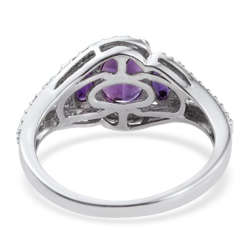 Amethyst (Ovl 0.75 Ct) 3 Stone Ring in Platinum Overlay Sterling Silver 1.000 Ct.