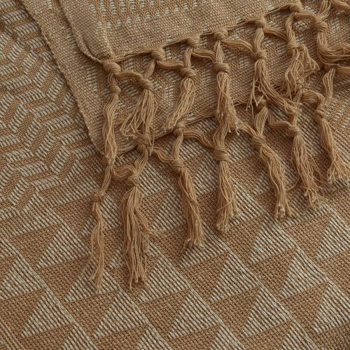 100% Cotton White and Latte Colour Handloom Bedcover with Fringes at the Bottom (Size 280x225 Cm)