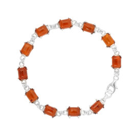 Baltic Amber (Oct) Bracelet (Size 7.75) in Sterling Silver