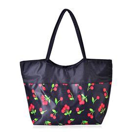 Red Cherry Pattern Black Colour Tote Bag (Size 52x38x32x15.5 Cm)