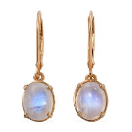 Rainbow Moonstone (Ovl) Lever Back Earrings in 14K Gold Overlay Sterling Silver 4.000 Ct.