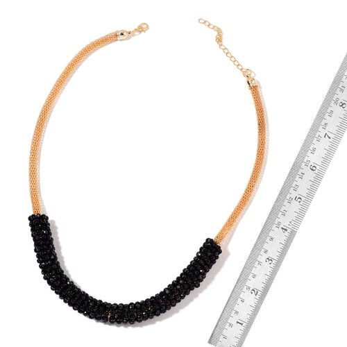 Simulated Black Spinel Mesh Chain Necklace (Size 20 with 2 inch Extender) in Yellow Gold Tone