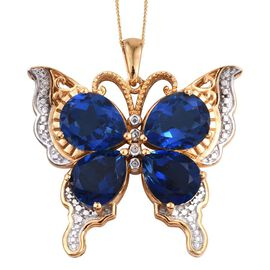 Ceylon Colour Quartz (Pear) Butterfly Pendant With Chain in 14K Gold Overlay Sterling Silver 14.500 Ct.