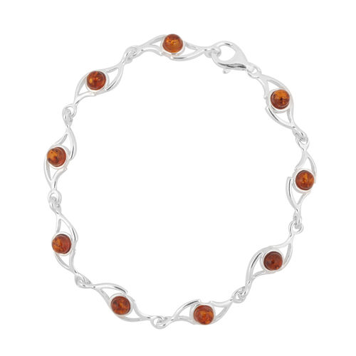 Baltic Amber (Rnd) Bracelet (Size 7) in Sterling Silver