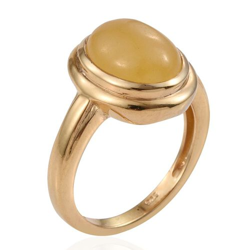 Yellow Jade (Ovl) Solitaire Ring in 14K Gold Overlay Sterling Silver 4.500 Ct.