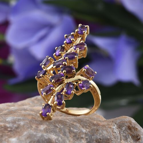 AA Lusaka Amethyst (Ovl) Crossover Ring in 14K Gold Overlay Sterling Silver 3.750 Ct.