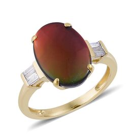 9K Y Gold Canadian Ammolite (Ovl 3.25 Ct), Diamond Ring 3.500 Ct.