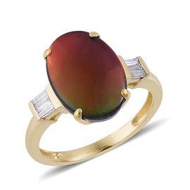 9K Y Gold Canadian Ammolite (Ovl 3.35 Ct) Diamond Ring 3.500 Ct.
