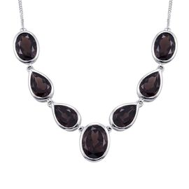 AAA Brazilian Smoky Quartz (Ovl 6.75 Ct) Necklace (Size 18) in Platinum Overlay Sterling Silver 30.000 Ct.