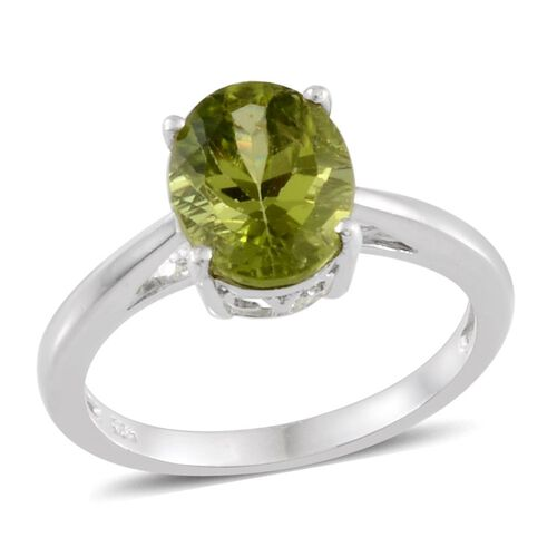 Hebei Peridot (Ovl) Solitaire Ring in Platinum Overlay Sterling Silver 2.500 Ct.