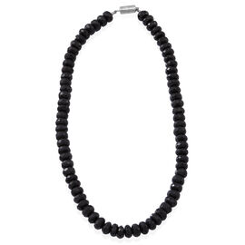 Boi Ploi Black Spinel Faceted Bead Necklace With Magnetic Lock (Size18 Inch) in Sterling Silver 500.00 Ct.