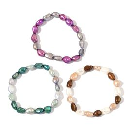 Set of 3 - Fresh Water Purple, Green, White and Multi Colour Pearl Stretchable Bracelet (Size 7.50)