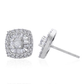 9K White Gold 1 Carat Diamond Cluster Stud Earrings SGL Certified I3 G-H.