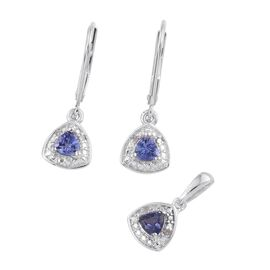 Tanzanite (Trl), Diamond Pendant and Lever Back Earrings in Platinum Overlay Sterling Silver 0.750 Ct.
